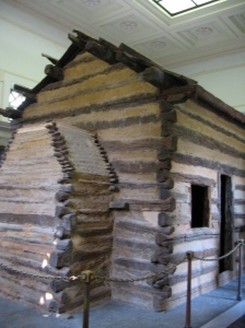 Inside the monument: an authentic frontier cabin. But not THE authentic frontier cabin.