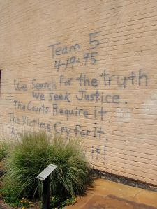 A call for justice scrawled by a rescue worker soon after the attack.