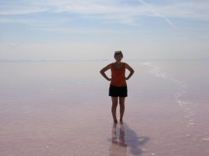 Wading in the Great Salt Lake.
