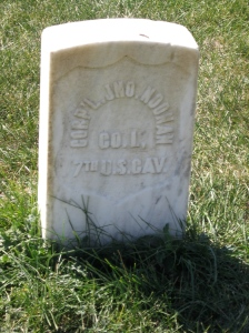 This is the grave of Cpl. John Noonan, who was working in a nearby depot during the Battle of Little Bighorn. He was married to a laundress who had been previously married to a succession of soldiers. In the summer of 1878, while Noonan was out of town, his wife died. While her body was being prepared for burial, it was discovered that she was biologically male. The news was so shocking to Noonan, and he was mocked so mercilessly, that he shot himself.