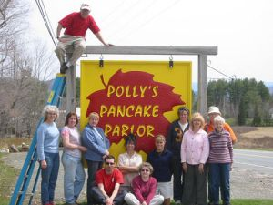 And here's the whole gang outside Polly's Pancake Parlor, the one place I wish I could be right this very minute.
