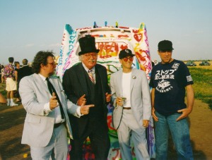 Here I am with some friends at Cadillac Ranch in Amarillo, TX. That awesome Japanese tee-shirt is the one I would later leave behind in a Motel room.