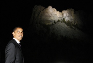 Here I am visiting Mount Rushmore at night.